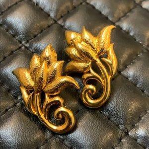 Vintage Avon Gold Flower Stud Earrings